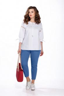 блуза,  брюки TEZA 164 белый+голубой