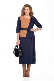 блуза,  юбка TEZA 238 синий+рыжий
