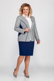 блуза,  жакет,  юбка LaKona 1246 синий+серый