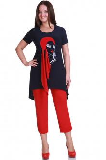 брюки,  туника Andrea Style 1111 синий+красный