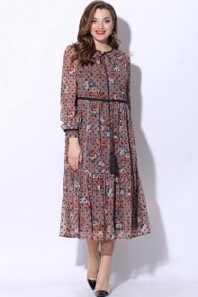 платье LeNata 11072 розовый-с-черным-горошком