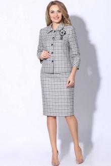 жакет,  юбка LeNata 21091 серый-в-клетку