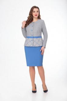 жакет,  юбка Gold Style 2368 серый-голубой