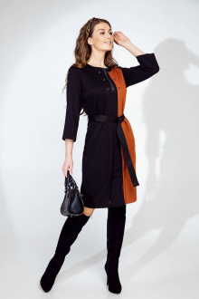 Платье Daloria 1600 черный-кирпичный