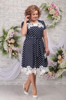 платье Ninele 7354 синий-горох