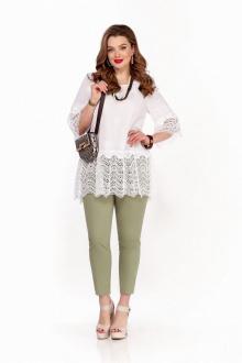 блуза,  брюки TEZA 1247 белый-хаки