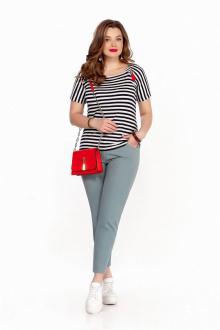 блуза,  брюки TEZA 1252 черно_белый-мох