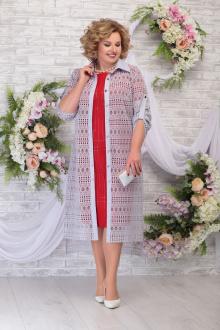 блуза,  платье Ninele 5805 красный-серо_голубой