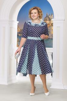 платье Ninele 5521 синий+горох