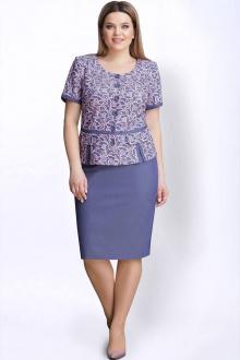 жакет,  юбка LeNata 21999 голубой-с-розовым