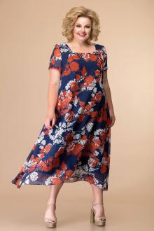 Romanovich Style 1-1332 синий/красные_пионы
