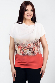 блуза La rouge 60169 коралл-набивной