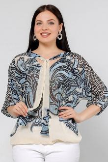 блуза La rouge 6075 синий-набивной