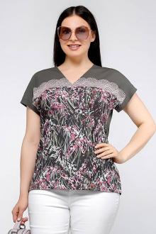 блуза La rouge 6150 зеленый-набивной