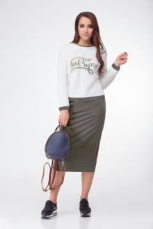 блуза,  юбка Bonna Image 442 белый-олива