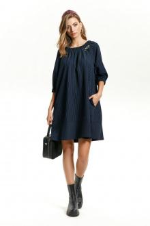 платье TEZA 1431 синий-полоска