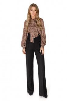 блуза,  брюки PiRS 1647 коричневый_горох-черный
