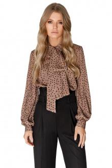 Блуза PiRS 1648 коричневый_горох