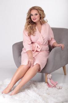 Халат Michel chic 107 белый+розовый
