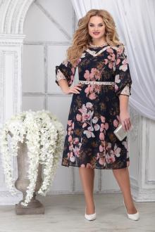 платье Ninele 5820 синий_цветы