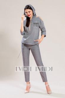 блуза,  брюки Твой имидж 1222 серый