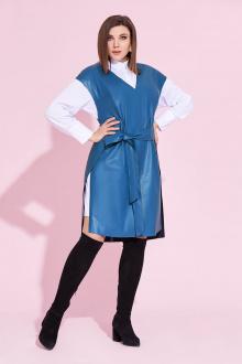блуза,  жилет Милора-стиль 855 голубой