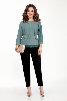 блуза,  брюки TEZA 108 мох+черный