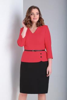 блуза,  юбка Ксения Стиль 1846 коралл-черный
