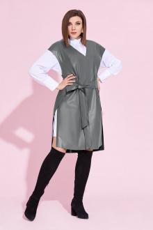 блуза,  жилет Милора-стиль 855 серый