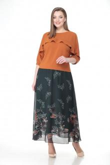 блуза,  юбка VOLNA 1185 терракот-темно-зеленый