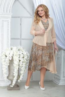 жакет,  платье Ninele 2286 леопард_пудра