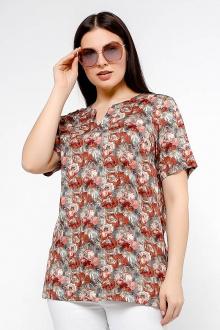 блуза La rouge 6156 серый-(цветы)