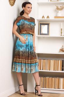 Мода Юрс 2557 бирюза-коричневый