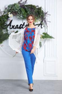 Anastasia 591 молочный+ярко-синий