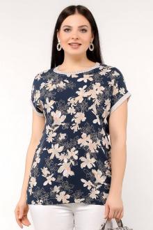 блуза La rouge 6154 синий-(цветы)