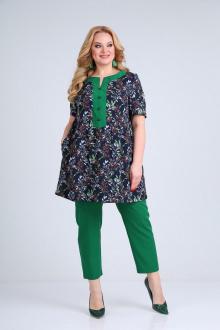брюки,  туника SOVITA M-2113 синий_фон-зелень