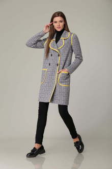 пальто Barbara Geratti by Elma 3471 светло-серый/желтый