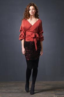 блуза,  юбка SODA 0124 терракот/черный
