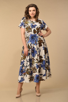 Lady Style Classic 1976/1 бежево_синий_цветы