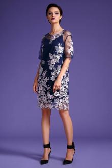 платье LaVeLa L1894 синий/цветы_розовые