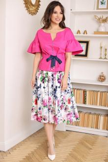 блуза,  юбка Мода Юрс 2688 фуксия_цветы