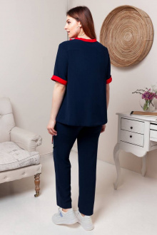 блуза,  брюки Gold Style 2475 темно-синий,ярко-красный