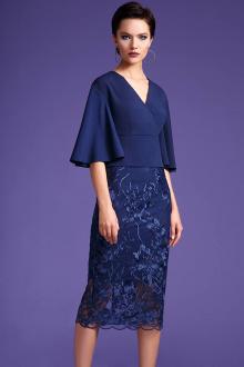 блуза,  юбка LaVeLa L2378 синий/цветы_синие
