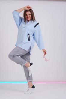 рубашка GRATTO 4017 голубой