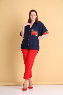 блуза,  брюки Andrea Style 0372 синий