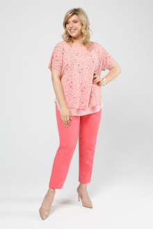 блуза,  брюки Pretty 2023 персик-дизайн_коралл