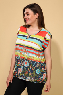 Блуза La Prima 0662 оранжевая_полоска