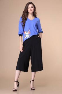 блуза,  брюки Romanovich Style 2-2124 черный/голубой