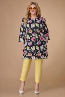 1588 черный+цветы+жёлтый
