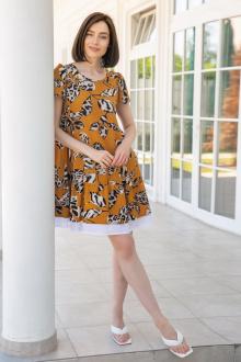 платье Ivera 1027 горчица,бежевый